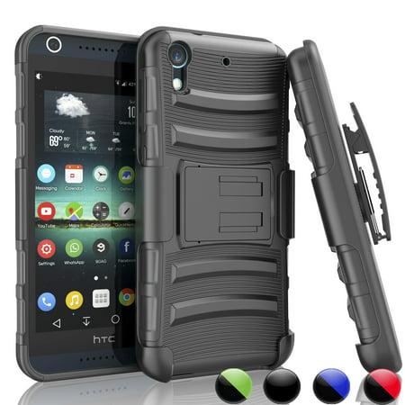 Bonus Carrying Case - HTC Desire 626 Case, Desire 626S Holster Case,[Black] Njjex [Built-in Screen] with Kickstand + Bonus Belt Clip Carrying Armor Case Cover For HTC Desire 626S/626