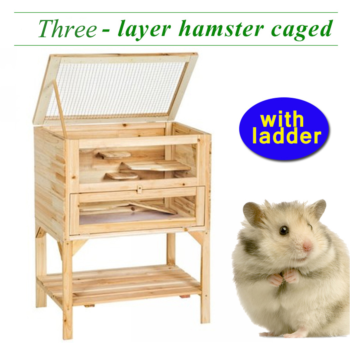 3 Tiers Layler Wooden Pet Hamster Cage Home With Ladder Natural Large Space Animals Mouse House Play Toys