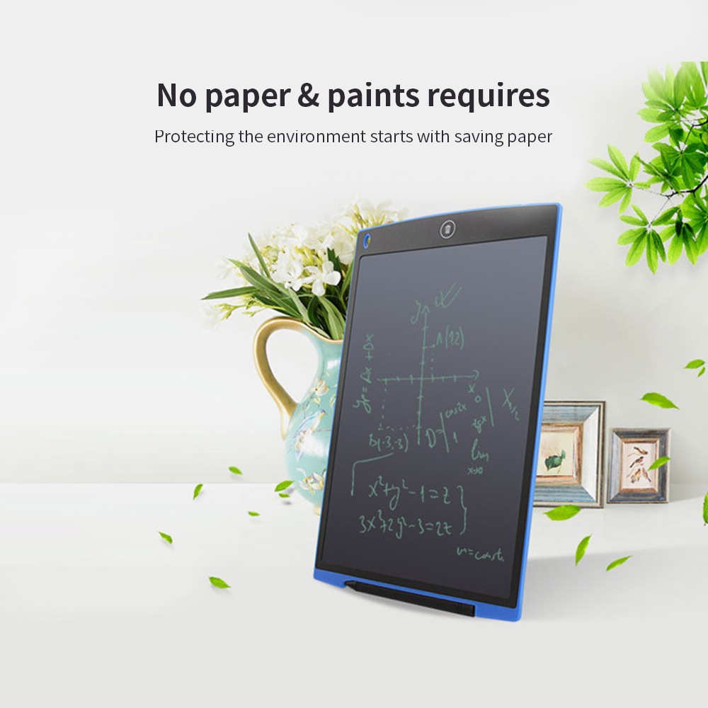 JRMU 12-inch Electronic Portable Practical Writing Tablet Reusable Paperless Drawing Tablet Erase Button Lock Included Doodle Board for Office Home-Blue 11.2x7.3