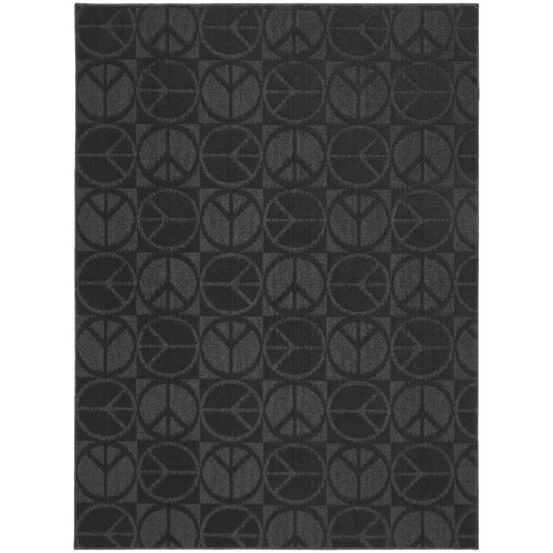 Garland Rug Black Large Peace Indoor/Outdoor Area Rug
