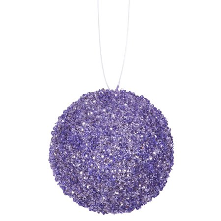 """4ct Lavender Purple Sequin and Glitter Drenched Christmas Ball Ornaments 4"""" (100mm)"""