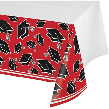 School Spirit Red Plastic Tablecloth for $<!---->