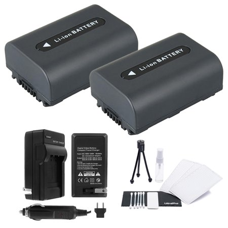 2-Pack NP-FH40 High-Capacity Replacement Batteries with Rapid Travel Charger for Select Sony Camcorders. UltraPro Bundle Includes: Camera Cleaning Kit, Camera Screen Protector, Mini Travel Tripod (Sony Screen Replacement Kit)