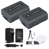 2-Pack NP-FH40 High-Capacity Replacement Batteries with Rapid Travel Charger for Select Sony Camcorders. UltraPro Bundle Includes: Camera Cleaning Kit, Camera Screen Protector, Mini Travel Tripod