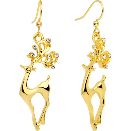 Body Candy Handcrafted Gold Plated Clear Accent Prancing Reindeer Fishhook -