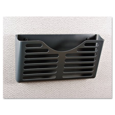 Button Recycled Storage File - Universal Recycled Plastic Cubicle Single File Pocket, Black -UNV08162