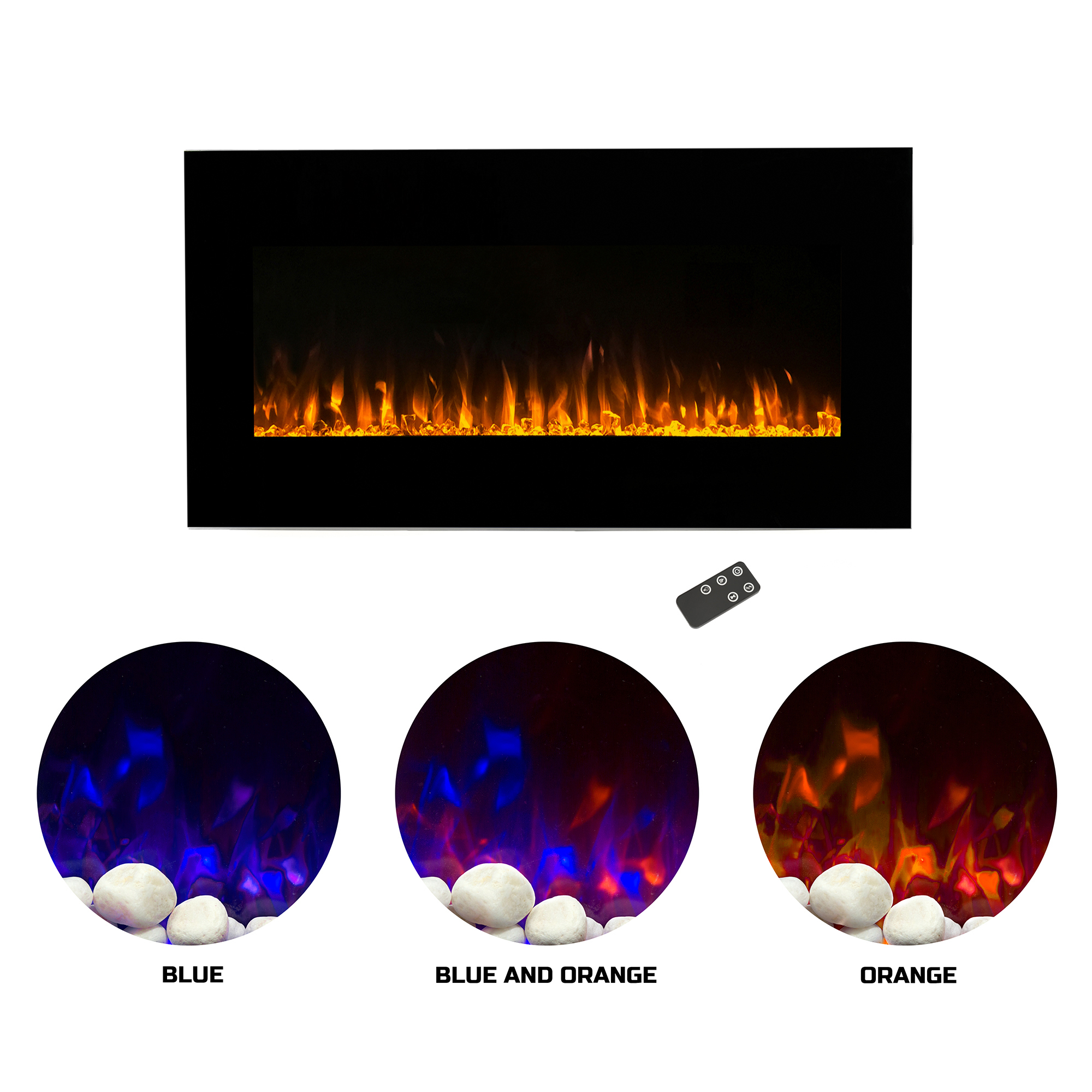 Electric Indoor Fireplace Wall Mounted, LED Fire and Ice Flame, With Remote 36 inch by Northwest