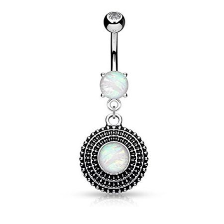 BodyJ4You Belly Button Ring Tribal Round Shield Opal Navel Dangle Stainless Steel 14G Piercing (Dangling Round Navel Ring)