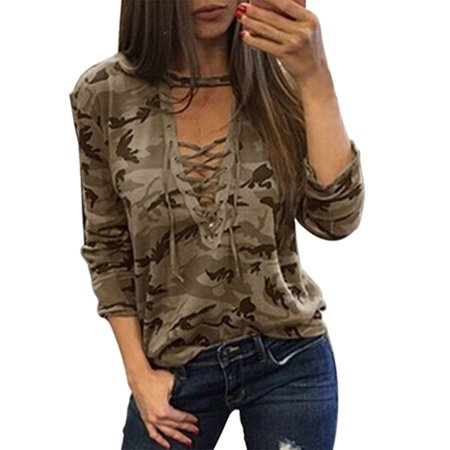 59606036 BONRICH - Bonrich Camouflage Print Lace-up T-shirt Women Long Sleeve V-neck  Tops Bandage Summer T-shirt Blouse - Walmart.com