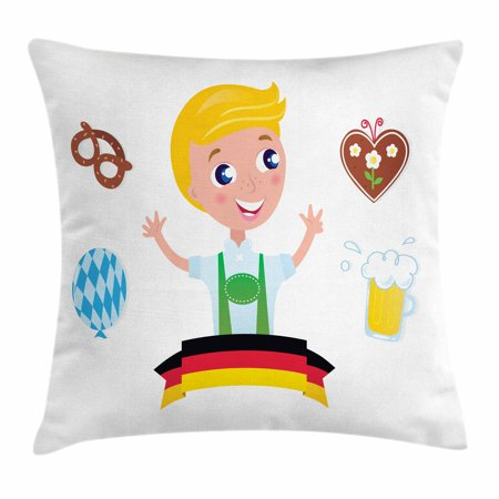 German Throw Pillow Cushion Cover, Bavarian Boy with Blonde Hair with Oktoberfest Symbols Beer Balloon and Pretzel, Decorative Square Accent Pillow Case, 18 X 18 Inches, Multicolor, by Ambesonne for $<!---->