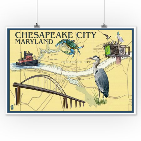 Chesapeake City, Maryland - Nautical Chart - Lantern Press Artwork (9x12 Art Print, Wall Decor Travel Poster)