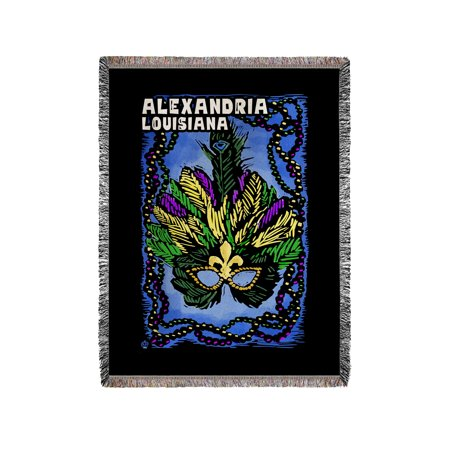 Alexandria, Louisiana - Mardi Gras - Scratchboard - Lantern Press Artwork (60x80 Woven Chenille Yarn Blanket)](Mardi Gras Throws)