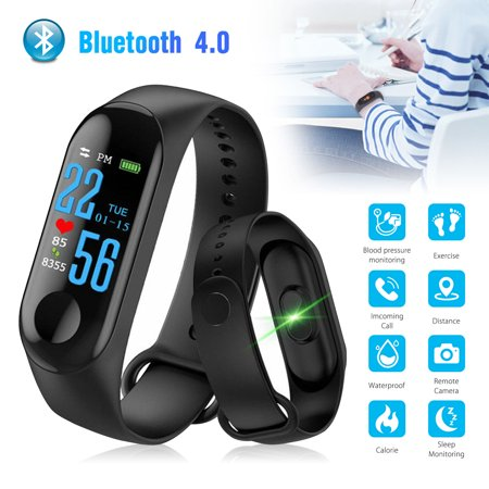 EEEKit Smart Sports Bracelet Fitness Tracker Heart Rate & Sleeping Monitoring Activity Tracker Call Text Reminder Remote Camera Compatible with Android (Iphone App To Forward Calls And Texts)