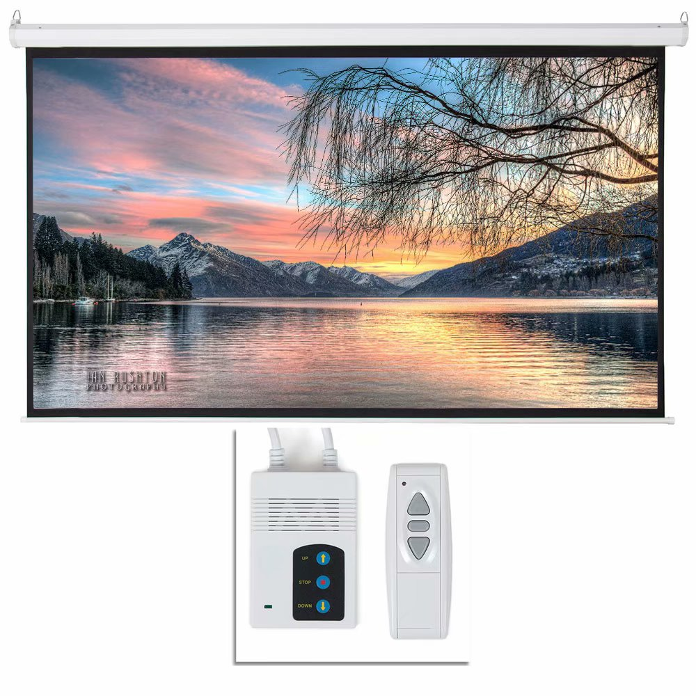 """Akoyovwerve 92"""" 16:9 Electric Motorized Projector Screen Auto with Remote Control Matte Gray Classroom Meeting Room,White"""