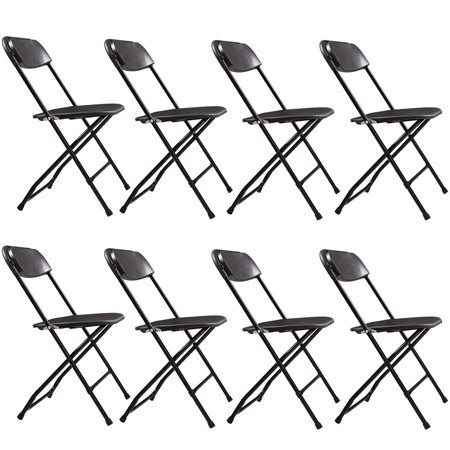 Jaxpety 8-Pack Commercial Plastic Folding Chairs Stackable Wedding Party Event Chair, Black