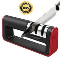 Knife and Scissor Sharpener, 2019 NEW Kitchen Knife Sharpener, 3-Stage Knife Sharpening System, Non-slip Base Kitchen Knife Sharpener, Easy to Use, Red, I3610