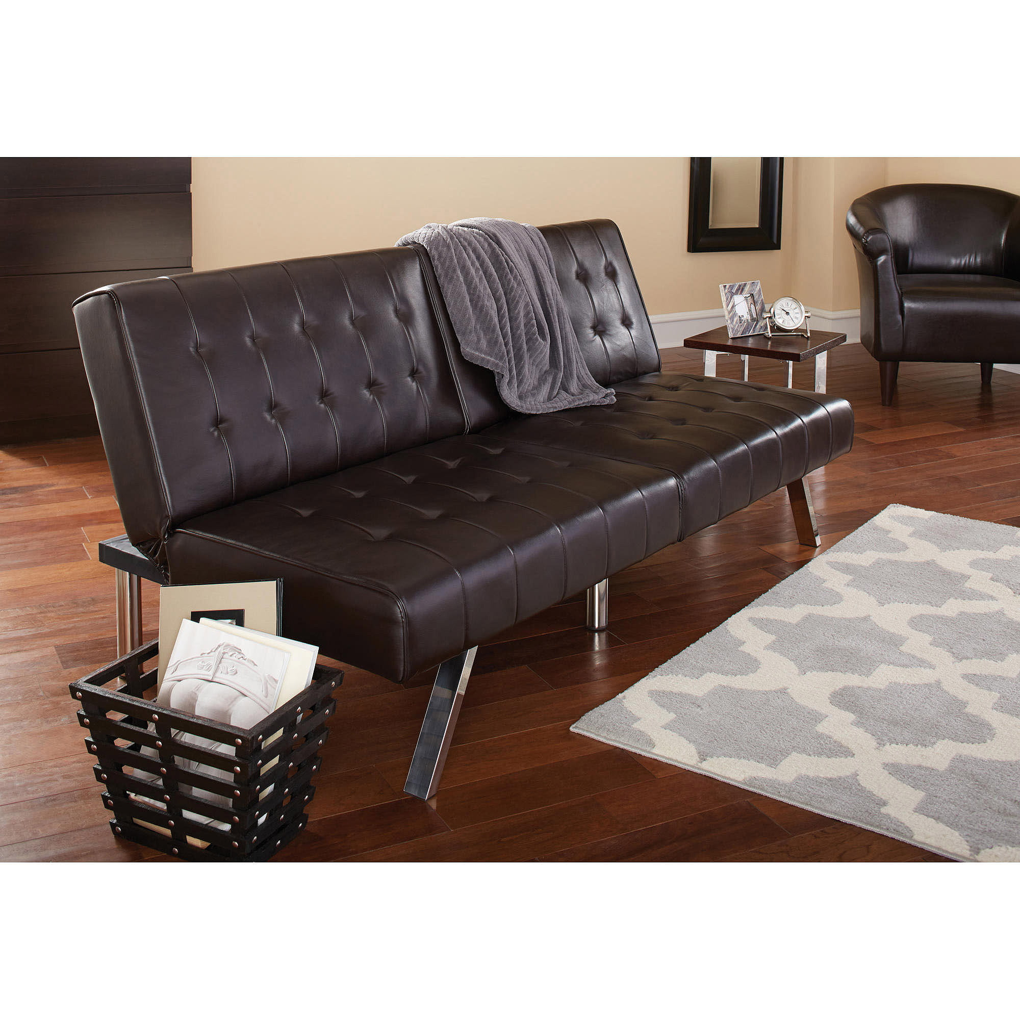 mainstays morgan faux leather tufted convertible futon brown   walmart   mainstays morgan faux leather tufted convertible futon brown      rh   walmart