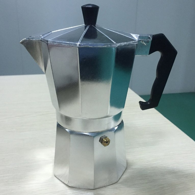 Silver Aluminium Moka Pot Octangle Coffee Maker For Mocha Coffee Italian Coffee