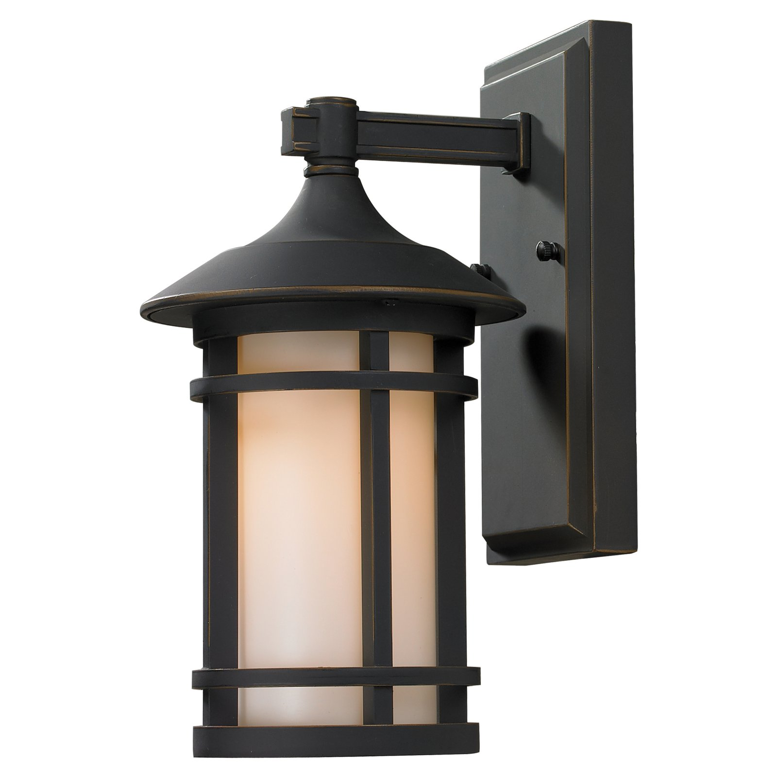 Z-Lite 528S Woodland 1-Light Outdoor Wall Sconce with Matte Opal Shade