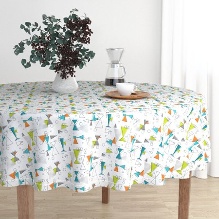 Round Tablecloth Retro Atomic Triangle Circle Mod 60S Shapes Cotton Sateen - 60s Mod Outfits
