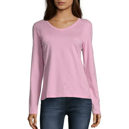 Hanes Women's Long Sleeve V-neck - Womens V-neck Ringer T-shirt