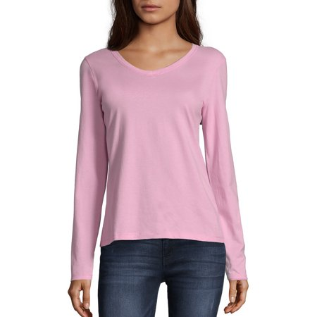 Hanes Women's Long Sleeve V-neck Tee 08 Long Sleeve T-shirt