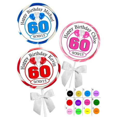 60TH BIRTHDAY PARTY FAVORS STICKERS For Lollipops Goody Bags Favor Boxes