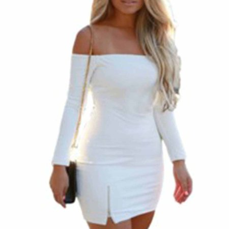 Women Sexy Long Sleeve Off Shoulder Bodycon Bandage Party Club Dresses
