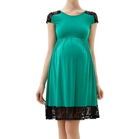 Glow & Grow Maternity Lace Insert Skater Dress - Neon Glow In The Dark Dresses