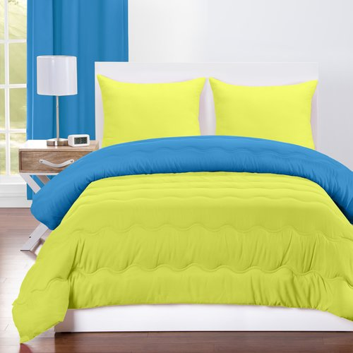 Crayola Blue Green and Granny Smith Apple Reversible Comforter Set