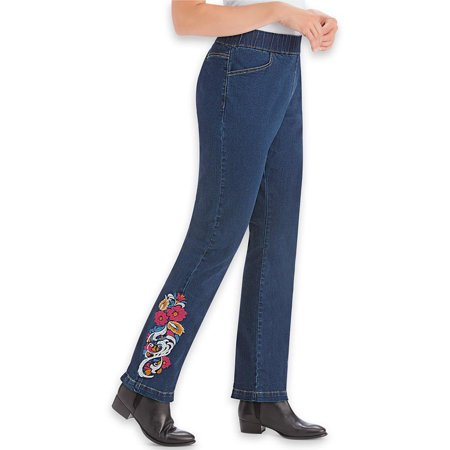 women's women's floral embroidered pull-on elastic waist denim jeans pants with front pockets, x-large, indigo blue Indigo Blue Jeans