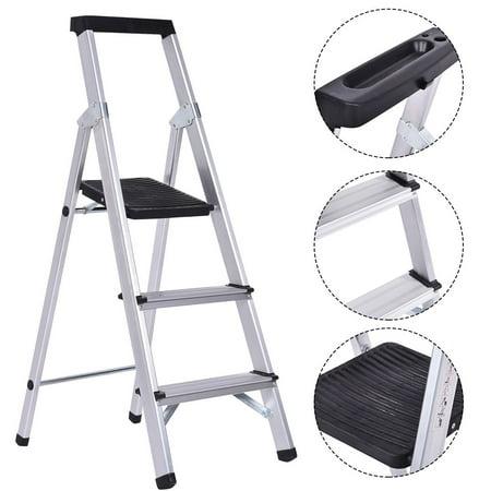 Costway Non Slip 3 Step Ladder Aluminum Folding Work Stool