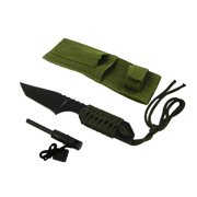 Full Tang Camping Hunting Survival 7 Inch Serrated Knife and Fire Starter Green