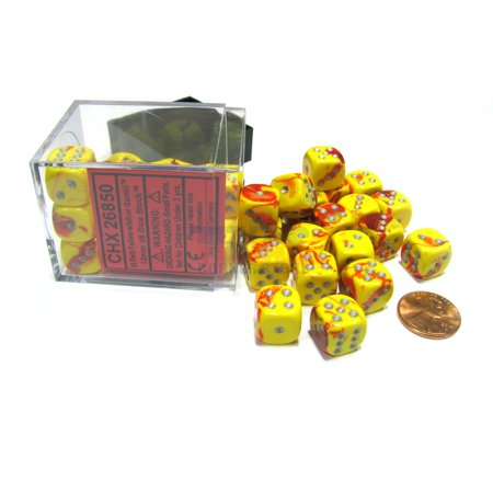 Chessex Gemini 12mm D6 Dice Block (36 Dice) - Red-Yellow with Silver Pips #26850