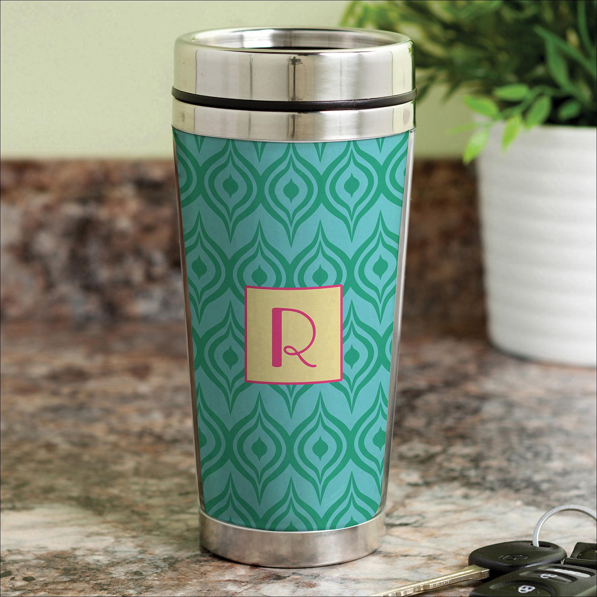 Personalized Green Ikat Travel Mug