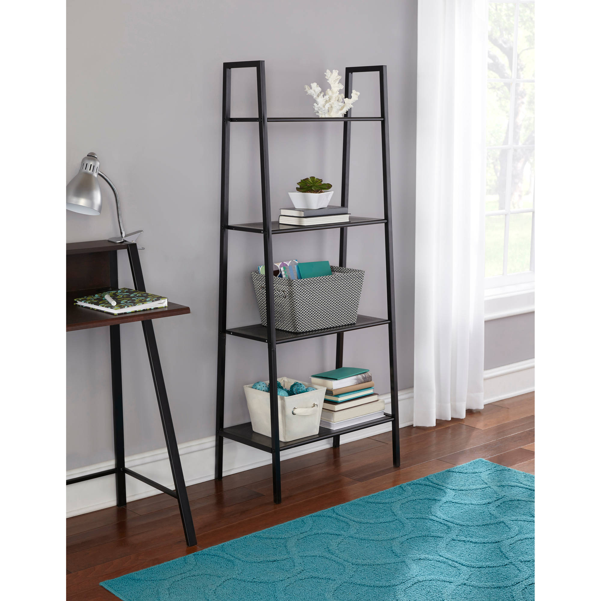 Mainstays 4-Tier Metal Bookshelf, Black