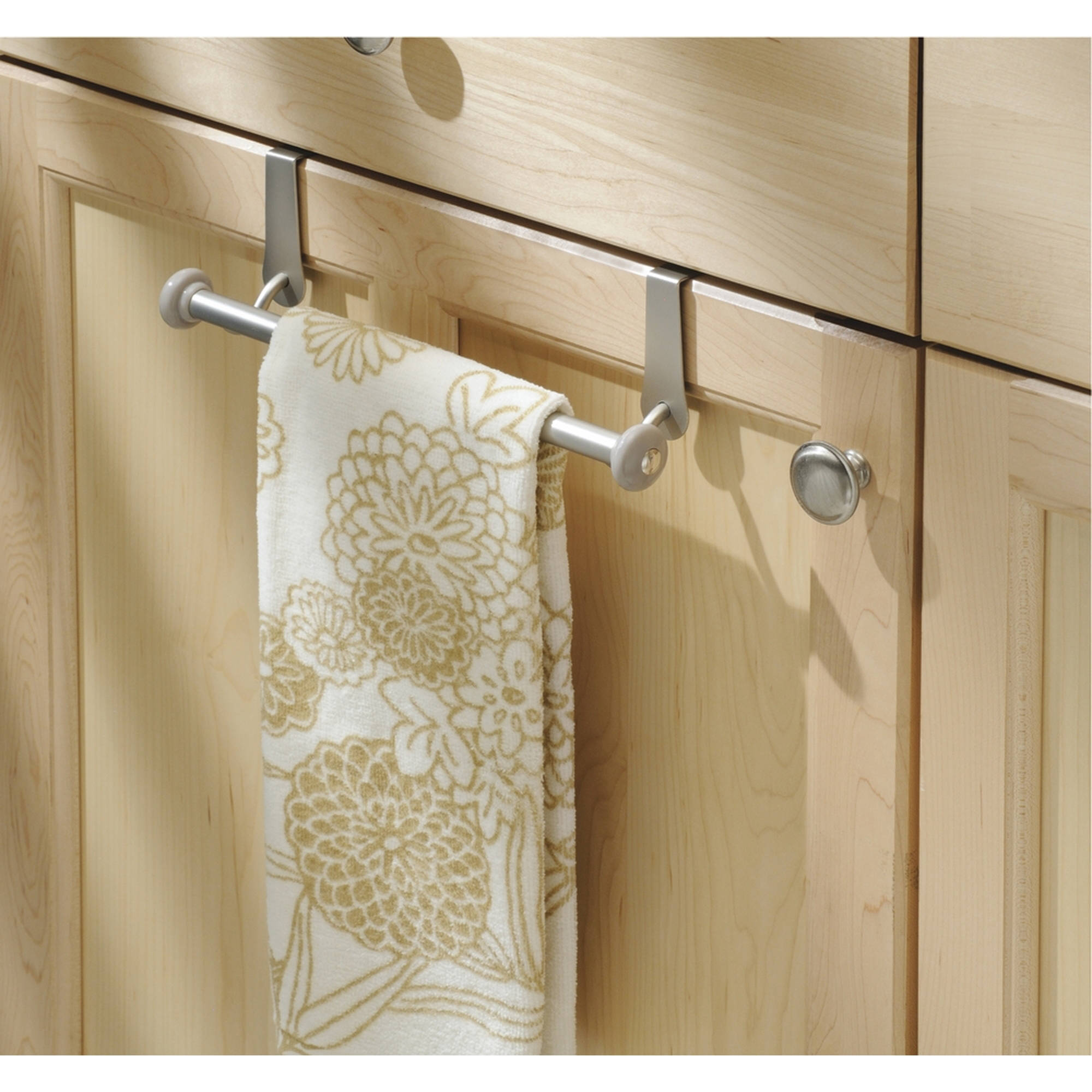 InterDesign York Over-the-Cabinet Kitchen Dish Towel Bar Holder, Satin by Generic