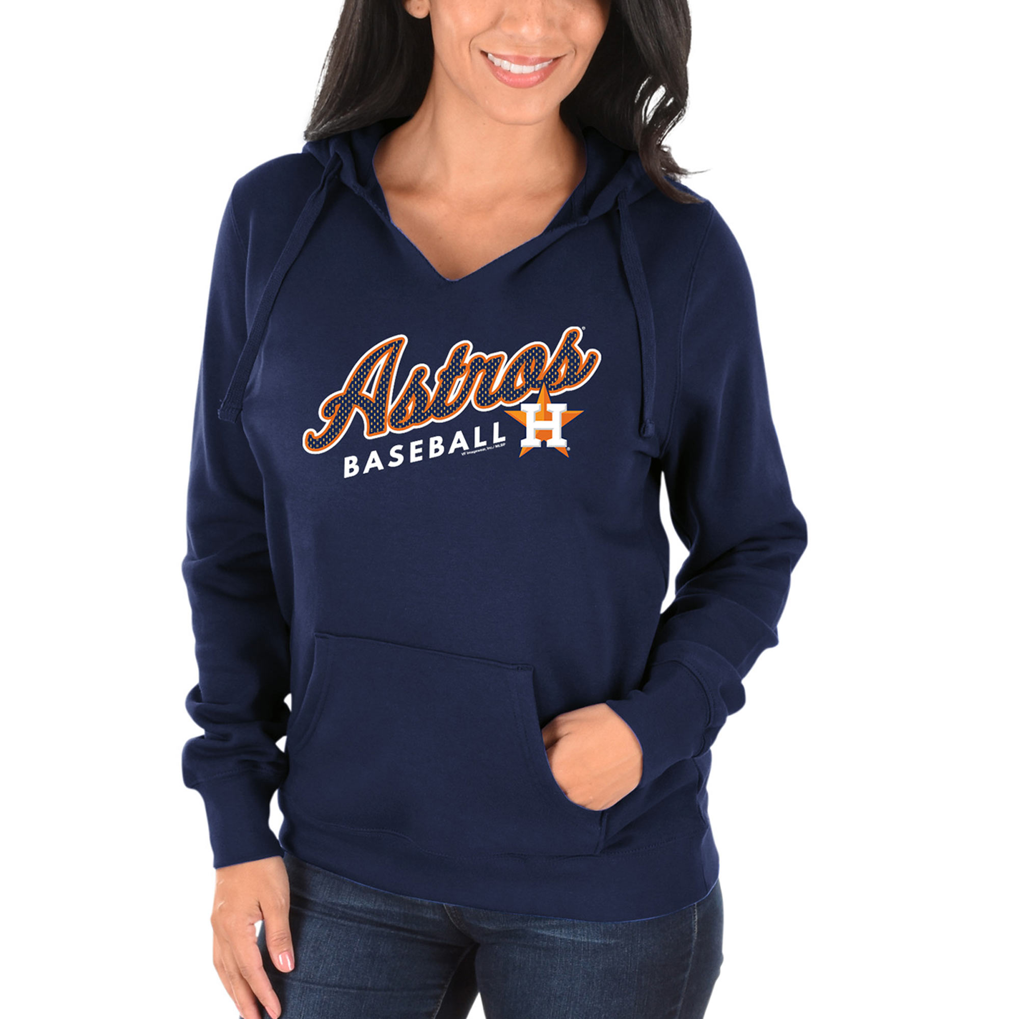 Women's Majestic Navy Houston Astros Fresh & Exciting V-Neck Pullover Hoodie