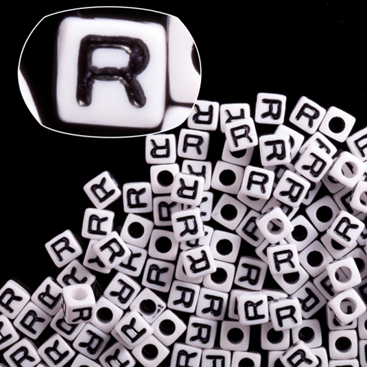 Letter R White Acrylic Cube Alphabet Beads 7mm 50Gram/209pcs