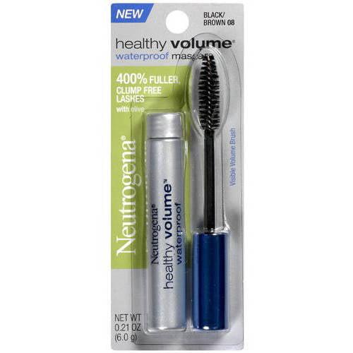 Neutrogena Healthy Volume Mascara Waterproof, Black/Brown 08, 0.21 oz