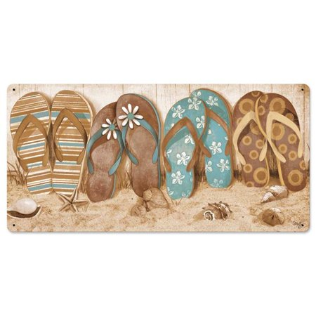 24 x 12 in. Flip Flops in Sand Satin Metal Sign - image 1 of 1