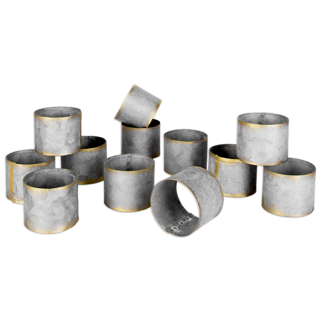 Galvanized metal napkin rings- discover a host of lovely rustic decor in this round up of galvanized metal farmhouse style and vintage chic design splendor! #modernfarmhouse #rusticdecor
