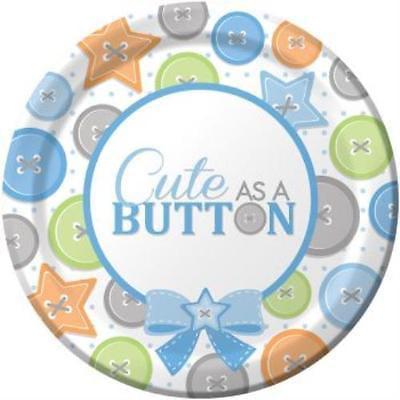 Cute As A Button Boy 7-inch Plates , 4PK