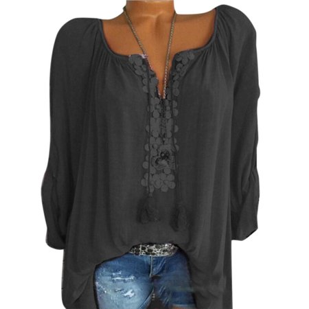 Boho Women Summer Plain Shirt Tops Long Sleeve Blouse Gypsy Beach T-Shirts ()
