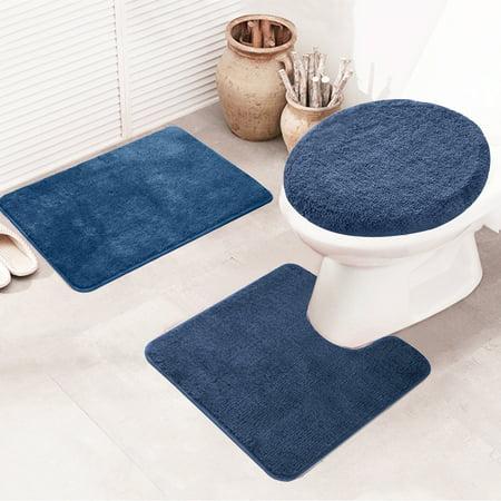 3 Piece Bathroom Rug Set Shaggy Non Slip Machine Washable Rectangular Area Rug (20