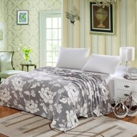 Madison Micro Plush Floral Blanket Gray