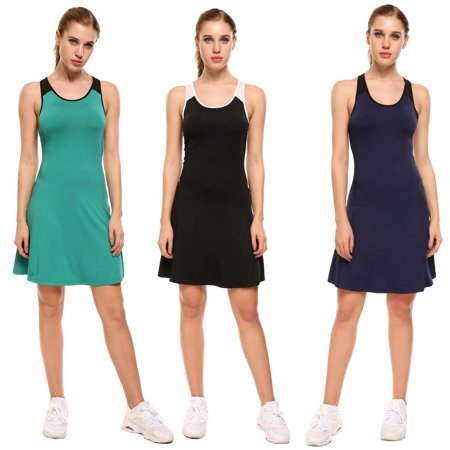 ECLNK The worth buy  Women Sport Sleeveless Mesh Patchwork O Neck Tennis Volleyball Pullover Dress - Buy Slipknot Jumpsuit