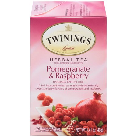 - Twinings of London Pomegranate & Raspberry Herbal Tea Bags, 20 Count, Pack of 6