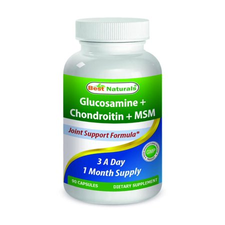 Best Naturals, glucosamine chondroïtine MSM suppléments, 2600 mg par portion, 90 capsules