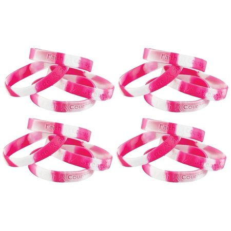 Pink Ribbon Breast Cancer Awareness Camouflage Rubber Bracelets 120 pc Pink & White Fundraiser, Show your support with these encouraging worded bracelets !